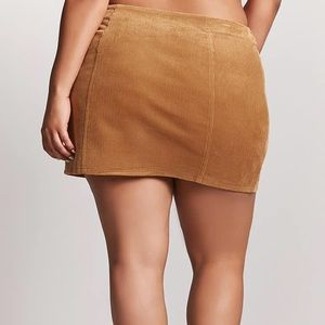 FOREVER 21+ RUST LACE UP CORDUROY MINI SKIRT